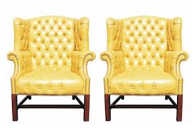 Yellow Chairs For Sale Design Ideas Pair Of Wormley Style Wingback Chairs In Yellow Naugahyde Yellow