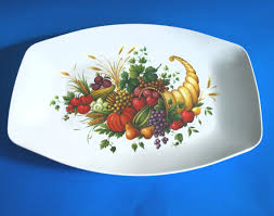 melamine fruits thanksgiving serving platter melmac horn