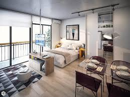 apartment industrial small studio apartment with indoor plant