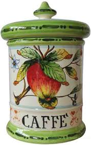 italian style kitchen canisters ceramic majolica coffee jar tuscan apple green 20cm stuff to buy
