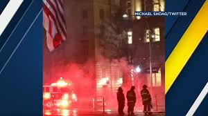 Flag On Fire Protester Sets Himself On Fire Outside Trump Hotel In D C Abc13 Com