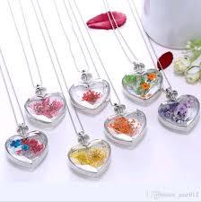 s day pendants wholesale korean style heart pendant necklace dried flower