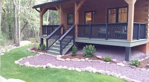 exterior finishes porch deck and foundation wall