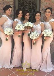 pink bridesmaid dresses pink cap sleeve floor length lace bodice mermaid bridesmaid