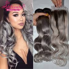 can ypu safely bodywave grey hair 8a ombre brazilian body wave grey hair weave 3pcs with closure