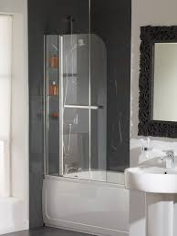 essential cascade bath screen with rail and glass shelves eb304
