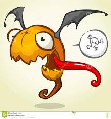 cartoon pumpkin head with bat wings flying and screaming vector