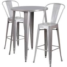 silver metal bar table flash furniture 30 in round silver metal indoor outdoor bar table