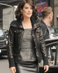 leather apparel cobie smulders bomber jacket