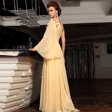 tiered chiffon yellow prom dresses one shoulder long sleeve prom