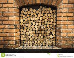 cross section of pine logs ready for winter in the fireplace stock