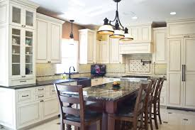 traditional kitchen with white painted cabinets with glazed finish