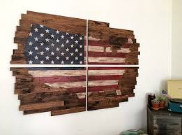 reclaimed wood planked american flag united states