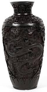 Cinnabar Vases Chinese Black Cinnabar Vase C 1900 H 9