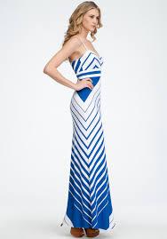light blue and white striped maxi dress lyst bebe empire waist stripe maxi dress in blue