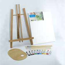 wooden palette set 500mm 20 wooden easel acrylic watercolour paints brushes