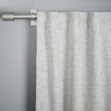 Lined Grey Curtains Cotton Textured Weave Curtain Blackout Lining Ivory West Elm