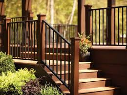 Banister Designs Bedroom Stylish Deck Railing Ideas With Wood And Iron Metal 20