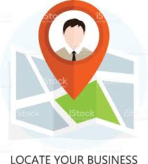 flat colored location icon locating your business stock vector art