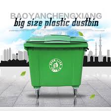 large 660l outdoor with 4 wheels plastic dust bin waste container