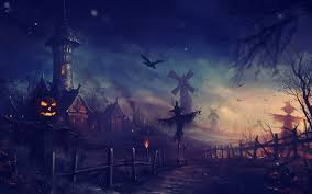 download halloween night in village art wallpaper free wallpapers