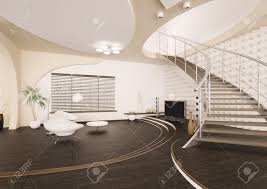 modern interior of living room with staircase 3d render stock