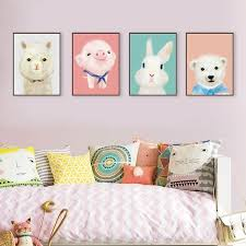 rabbit nursery watercolor modern animals penguin print poster kawaii