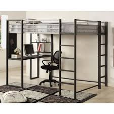 Bunk Bed With Workstation Black Metal Loft Bed With Desk Free Shipping Today