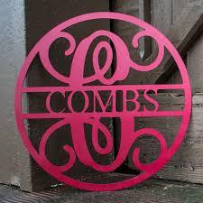 last name monogram custom metal circle monogram with last name metal wall