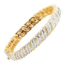 gold plated tennis bracelet images 1 ct diamond s link tennis bracelet in 18k gold plated brass ebay jpg