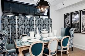 Blue Upholstered Dining Chairs Wearstler Fabric Eclectic Dining Room Megan Winters
