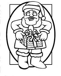 santa claus bring christmas gift coloring pages