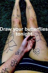 drawing butterflies on legs a way to cope with self harm