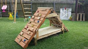 Backyard Play Structure by Pallet Climbing Structure Outdoores Pinterest Pallets
