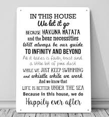 in this house we do disney inspired a4 metal sign plaque wall art