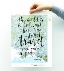 Map Art Travel Quote Calligraphy Map Art Print Art Prints U0026 Posters