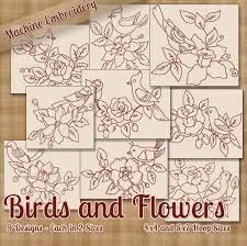 stitchx embroidery birds and flowers machine embroidery designs redwork jpg