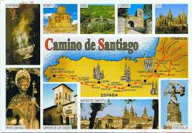 Camino De Santiago Map Postcard Footprints From Around The World Map Of The Camino Route
