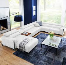 White Leather Sectional Sofas Casa Arles Modern White Leather Sectional Sofa