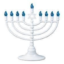 electric menorah for hanukkah white l e d battery operated