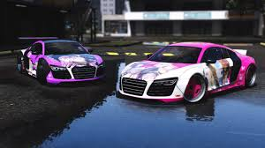pink audi r8 audi r8 v10 libertywalk add on replace gta5 mods com