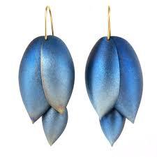 ted muehling earrings ted muehling asparagus earrings blue niobium 14k gold earwires