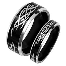 black wedding band sets matching tungsten black wedding band set laser etched tribal