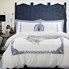 set 6 pcs vintage style 4 6pcs luxury cotton bedding set blue satin duvet