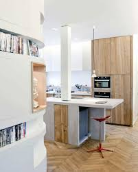 modern white small kitchen design with wooden cbainet and isladn