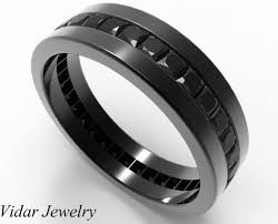 black diamond wedding band for him in black gold vidar jewelry