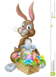 rabbit easter basket easter bunny rabbit with eggs basket stock vector image