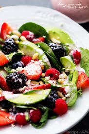 berry avocado salad with creamy raspberry poppyseed dressing the