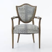 Oak Armchair Lenny Batik Indigo Upholstered Oak Shield Back Chair Zin Home