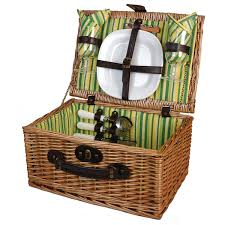 picnic basket for 2 and beyond veranda collection willow picnic basket for 2 green